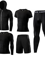 cheap -Men's Elastane Tracksuit 5pcs Front Zipper Round Active Training Fitness Gym Workout Sportswear Normal Breathable Quick Dry Soft Sweat-wicking Running T-Shirt With Pants Athletic Clothing Set
