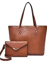 cheap -Women's Zipper Faux Leather / PU Bag Set Solid Color 2 Pieces Purse Set Black / Brown / Wine
