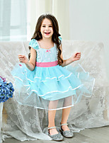 cheap -Bo Peep Dress Masquerade Flower Girl Dress Girls' Movie Cosplay A-Line Slip Cosplay Halloween Light Blue Dress Halloween Carnival Masquerade Tulle Cotton