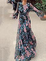 cheap -Women's Swing Dress - Floral Color Block Black S M L XL