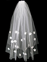 cheap -Two-tier Classic & Timeless Wedding Veil Elbow Veils with Petal / Trim / Crystals / Rhinestones Tulle