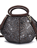 cheap -Women's Embossed Nappa Leather Top Handle Bag Floral Print Silver