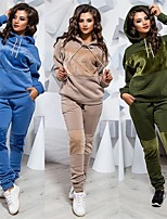 cheap -Women's 2-Piece Tracksuit Jogging Suit Sweatsuit 2pcs Pullover Running Jogging Windproof Breathable Soft Sportswear Athletic Clothing Set Long Sleeve Activewear Micro-elastic Regular Fit