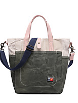 cheap -Men's Zipper Canvas Top Handle Bag Color Block Army Green / Blue