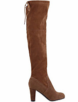 cheap -Women's Boots Chunky Heel Round Toe Suede Over The Knee Boots Fall & Winter Black / Brown / Red