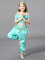 cheap -Princess Jasmine Pants Masquerade Flower Girl Dress Girls' Movie Cosplay A-Line Slip Cosplay Halloween Light Blue Top Pants Halloween Carnival Masquerade Tulle Polyster