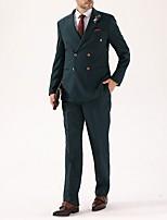 abordables -Vert Couleur Pleine Coupe Sur-Mesure Polyester Costume - En Pointe Croisé 4 boutons / costumes