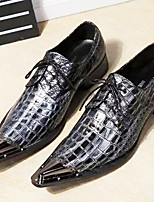 cheap -Men's Novelty Shoes Nappa Leather Spring & Summer / Fall & Winter Classic / British Oxfords Non-slipping Black / Party & Evening