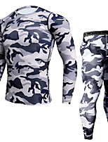 cheap -JACK CORDEE Men's Long Sleeve Cycling Base Layer Compression Suit Winter Fleece Polyester Black Army Green Camo / Camouflage Bike Clothing Suit Thermal / Warm Quick Dry Sweat-wicking Sports Camo