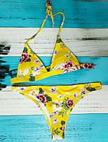 cheap -Women's Basic Yellow Halter Cheeky Tankini Swimwear - Floral Print S M L Yellow