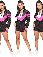 cheap -Women's 2-Piece Patchwork Tracksuit Sweatsuit 2pcs Running Fitness Jogging Sportswear Windproof Breathable Soft Athletic Clothing Set Long Sleeve Activewear Micro-elastic Regular Fit / Streetwear
