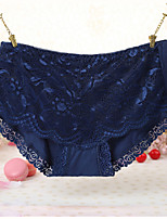 cheap -Women's Lace / Cut Out / Flower Briefs - Normal Mid Waist White Purple Blushing Pink One-Size
