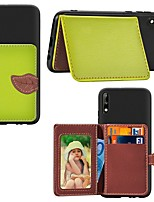 cheap -Case For Huawei Huawei Y9 (2018)(Enjoy 8 Plus) / Huawei Y7 Prime (2018) / Huawei Y7 Pro(2019) Card Holder / with Stand / Ultra-thin Back Cover Solid Colored PU Leather / TPU