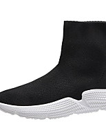 cheap -Women's Boots Flat Heel Round Toe Suede Booties / Ankle Boots Winter Black / White