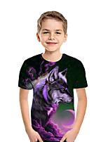 abordables -Enfants Garçon Actif Chic de Rue 3D Mosaïque Animal Imprimé Manches Courtes Tee-shirts Arc-en-ciel