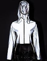 cheap -Women's Cowl Neck Running Crop Top Track Jacket Reflective Jacket Solid Colored Sillver Gray Running Fitness Jogging Cropped hoodie / Crop hoodie Long Sleeve Sport Activewear Reflective Windproof
