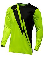 cheap -21Grams Men's Long Sleeve Cycling Jersey Downhill Jersey Dirt Bike Jersey Winter 100% Polyester Orange Green Bike Jersey Top Mountain Bike MTB Road Bike Cycling Thermal / Warm UV Resistant Breathable