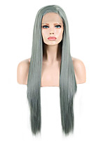 cheap -Synthetic Lace Front Wig Straight Side Part Lace Front Wig Long Grey Synthetic Hair 18-26 inch Women's Soft Adjustable Party Green Gray