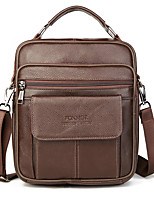 cheap -Men's Zipper Cowhide Top Handle Bag Solid Color Black / Brown
