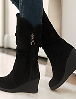 cheap -Women's Boots Wedge Heel Round Toe Suede Mid-Calf Boots Winter Black / Red / Gray