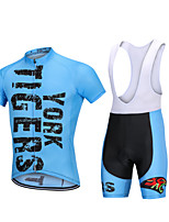 cheap -YORK TIGERS Men's Boys' Short Sleeve Cycling Jersey with Bib Shorts - Kid's Silicone Elastane Lycra Sky Blue Animal Bike Bib Shorts Jersey Clothing Suit Breathable 3D Pad Quick Dry Reflective Strips