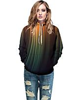 cheap -Women's Active / Street chic Hoodie - Geometric / Color Block / 3D Rainbow L