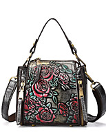 cheap -Women's Embossed Nappa Leather Top Handle Bag Floral Print Silver / Green / Coffee