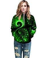 cheap -Women's Active / Street chic Hoodie - Geometric / Color Block / 3D Green L