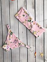 cheap -Women's Basic Black Blushing Pink Bandeau Cheeky High Waist Bikini Swimwear - Floral Geometric Lace up Print S M L Black
