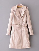 cheap -Women's Daily Fall & Winter Long Coat, Solid Colored Notch Lapel Long Sleeve Polyester Black / Wine / Blushing Pink