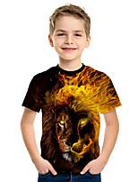 abordables -Enfants Garçon Actif Chic de Rue Lion 3D Animal Imprimé Manches Courtes Tee-shirts Jaune