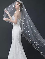 cheap -One-tier Classic Style / Lace Wedding Veil Chapel Veils with Solid / Pattern POLY / Lace