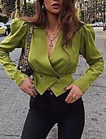 abordables -Femme Blazer, Couleur Pleine Col en V Polyester Noir / Bleu / Rouge
