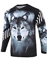 cheap -21Grams Men's Long Sleeve Cycling Jersey Downhill Jersey Dirt Bike Jersey Winter 100% Polyester Black / White Animal Bike Jersey Top Mountain Bike MTB Road Bike Cycling Thermal / Warm UV Resistant