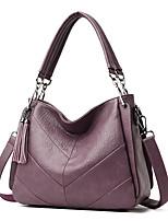cheap -Women's Tassel PU Top Handle Bag Solid Color Black / Wine / Purple