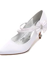 cheap -Women's Wedding Shoes Stiletto Heel Pointed Toe Rhinestone / Bowknot Satin Sweet / British Spring & Summer Black / White / Purple