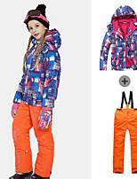 cheap -Phibee Girls' Ski Jacket with Pants Skiing Camping / Hiking Winter Sports Windproof Warm Winter Sports Polyester Warm Top Warm Pants Clothing Suit Ski Wear