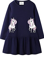 cheap -Kids Girls' Color Block Long Sleeve Above Knee Dress Blue