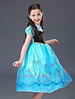 cheap -Anna Dress Masquerade Flower Girl Dress Girls' Movie Cosplay A-Line Slip Cosplay Halloween Blue Dress Halloween Carnival Masquerade Tulle Polyester