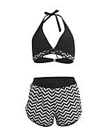 cheap -Women's Sporty Basic Black Triangle Cheeky Boy Leg Tankini Swimwear - Solid Colored Racerback Bow S M L Black