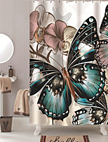 cheap -Shower Curtains with Hooks Butterfly Polyester Novelty Fabric Waterproof Shower Curtain for Bathroom