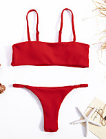 cheap -Women's Basic Red Bandeau Thong Tie Side Tankini Swimwear - Solid Colored Backless S M L Red