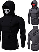 cheap -Men's Cotton Hoodie Running Shirt Cowl Neck Running Fitness Jogging Windproof Breathable Soft Sportswear Skull Hoodie Top Long Sleeve Activewear Micro-elastic