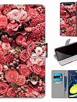 cheap -Case For Samsung Galaxy S10 / S10 Plus / S10 E Wallet / Card Holder / with Stand Pink Rose Garden PU Leather / TPU for A10s / A20s / A50(2019) / A70(2019) / A90(2019) / Note 10 Plus / J6 Plus(2018)