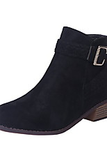 cheap -Women's Boots Chunky Heel Round Toe Suede Booties / Ankle Boots Fall & Winter Black / Leopard / Pink