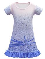 cheap -Kids Girls' Active Sweet Geometric Short Sleeve Above Knee Dress Blue