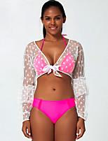 cheap -Women's Basic Blushing Pink Bandeau Cheeky High Waist Bikini Swimwear - Geometric Lace up Lace Trims S M L Blushing Pink