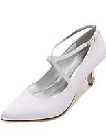cheap -Women's Wedding Shoes Stiletto Heel Pointed Toe Rhinestone Satin Sweet / British Spring & Summer White / Purple / Champagne