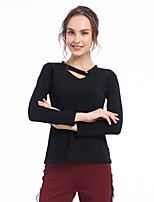 cheap -CONNY Women's Yoga Top Winter Solid Color Black Yoga Running Fitness Top Long Sleeve Sport Activewear Breathable Comfortable Micro-elastic