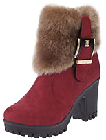 cheap -Women's Boots Chunky Heel Round Toe Suede Booties / Ankle Boots Winter Black / Wine / Khaki